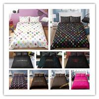 modern moda kraliçe yataklar toptan satış-Moda Yatak set nevresim Logo baskı grubu Twin Tam Kraliçe yorgan yatak setleri 2/3 adet