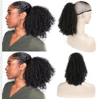 cabelo de ponytail cordão venda por atacado-ZXTRESS cordão Puff Afro Kinky Curly rabo de cavalo Africano curtos americano Enrole clipe sintético em extensões do cabelo rabo de cavalo