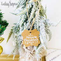 Wholesale christmas kraft gift tags for sale - Group buy 50pcs Natural Kraft Paper Gift Tags Merry Christmas With Jute Twine For Packing Tags DIY Craft Label Party Decoration