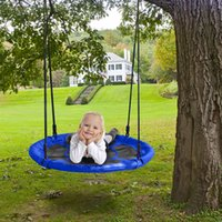 Wholesale outdoor patio swings resale online - 40 quot Kids Outdoor Round Net Hanging Rope Nest Tree Swing Children Patio Toys Blue