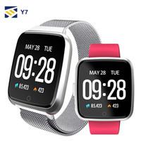 niños relojes deportivos a prueba de agua al por mayor-NUEVO para el iPhone de Apple teléfono inteligente Y7 aptitud pulsera del reloj del deporte del perseguidor impermeable del monitor de ritmo cardíaco Muñequera