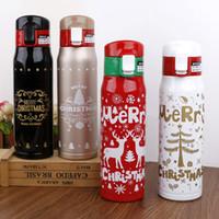 vasos de navidad al por mayor-Botella de agua de Navidad de 500 ml Navidad Impresión de doble pared Vaso de acero inoxidable Vacío Viaje Deporte Termos Frascos Taza de café Taza LJJA2920