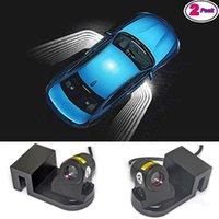 araba kapısı lazer gölge aydınlatma toptan satış-2 adet Universal Araç Projeksiyon Projektör Kapı Gölge Işık Hoşgeldin Işık Lazer melek kanatları Lambalar LED Kiti
