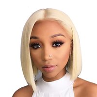 Wholesale 12 inches blonde lace wig resale online - 613 Short Bob Full Lace Wig inch Brazilian Remy Straight x6 Blonde Lace Front Human Hair Wig for Black Women