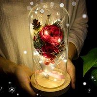 свежие розы сохранились оптовых-Светодиодный мигающий световой искусственный цветок розы цветочные сохранились свежие цветы свадьба романтический декор День Святого Валентина подарок челнок C18112601
