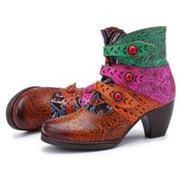 Frauen Retro Fashion Handgenähtes Pirate Buckle Passende Stiefel beiläufige Ankle Boot Schuh Frauen Stiefel Damen zapatos de mujer