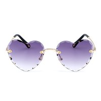 Wholesale heart shaped sunglasses for women resale online - Selling Temples Shaped Rimless Sunglasses Heart New Uv400 Glass Trendy Products For Sun Women Fast Metal Obdif