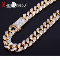 Wholesale heavy brass chain resale online - Finish Men s mm Heavy Iced Zircon Miami Cuban Link Necklace Choker Bling Bling Hip hop Jewelry Gold Silver Chain quot quot