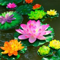 Wholesale flower artificial lotus floating water resale online - NEW Fish Tank Lotus CM Diameter Artificial PU Lotus Floating Water Home Garden Simulation Lotus flower POPULAR