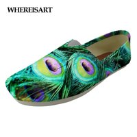 женские перья павлина оптовых-WHEREISART Fashion Peacock Feather  Designer Flats Female Canvas Shoes Lady's Casual Slip-on Lazy Cloth Shoes Woman Loafer