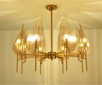 araña oscura al por mayor-American Dark Brown Glass Leaf Copper Chandelier 6 head 8 lámparas LED lamp Para Parlor restaurant Iluminación para el hogar Suspensión G885