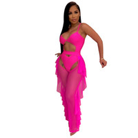 Wholesale sheer sexy swimsuits women resale online - Women Two Piece Sets Sexy Cut Out Bodysuit Open Crotch Pants Suit Swimsuit Club Party Night Tracksuit Outfits Colors