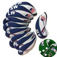 equipamento do gramado ao ar livre venda por atacado-Tampa do clube de golfe Padrão Da Bandeira Americana Neoprene Material Equipamentos Desportivos Movimento Azul Gramado Branco Ao Ar Livre Prático