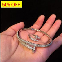 Wholesale rhodium bracelets resale online - Sky Star Bracelet with K Authentic Gold and Drill Nail Bracelet with Drill Nail Ring in Japan and Korea