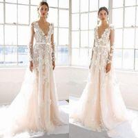 mangas de boda marchesa al por mayor-2020 Tamaño de la boda vestidos de Marchesa Sexy manga larga floral 3D apliques más el vestido de novia castillo de la princesa vestidos de boda
