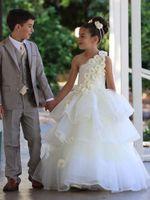 fildişi bir omuz gelinlik toptan satış-Dantel Fildişi Bir Omuz Balo El Yapımı Çiçek Kız Elbise Düğün Parti Prenses Katmanlı Organze Çocuk Pageant Communion Kat Uzunluk