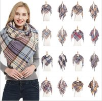 Wholesale plain white neckerchiefs resale online - Plaid Scarf Girls Check Tassel Wraps Grid Lattice Shawl Oversized Triangle Neck Scarves Fringed Pashmina Winter Neckerchief Blankets B6456