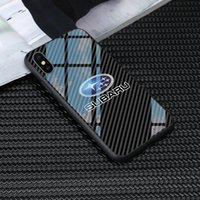 ingrosso loghi subaru-Trasporto libero caldo di vetro subaru logo della cassa del telefono per l'iphone X XR XS Max 11 Pro 6 7 8 più samsung galaxy S8 S9 S10, più nota 8 9 coperchi Subaru