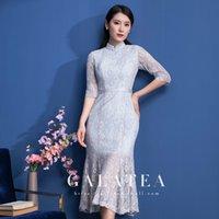 rodilla alta qipao al por mayor-Cheongsam moderno 2019, vestido de noche, estilo clásico chino, sirena, gracia, intelectualidad, encaje, manga transparente transparente, hasta la mitad