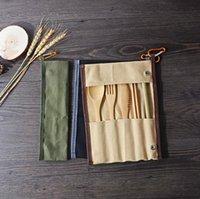 ingrosso set da cucina portatile-Viaggi Portable Set posate di bambù posate Coltello Forchetta Cucchiaio paglia esterna Dinnerware Set con il sacchetto della tela di canapa