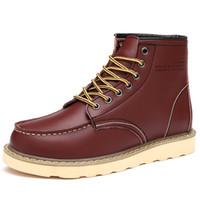 erkekler için en sıcak ayakkabılar toptan satış-Erkek Botları Kış Sıcak Kar Boot Açık Ayak Bileği Çizme Erkekler Rahat Artı Boyutu 39-46 Erkek Deri Flats Erkekler Ayakkabı Sapato Masculino