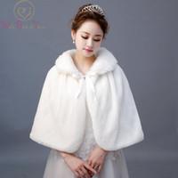 Wholesale real fur boleros resale online - Real Photos Ivory Fur Stole Cape Wedding with Ribbon Winter Wedding Coat Wedding Accessories Bride Wrap Bolero Shawl Stock