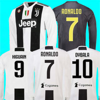 Wholesale ronaldo grey uniform online - New RONALDO JUVENTUS HOME Long sleeve Soccer Jerseys JUVE DYBALA MANDZUKIC D COSTA AWAY Football uniforms