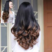 ingrosso produttori di tinture-Parrucca femminile moda lunga capelli ricci tinti metà pendenza set di pera fiore rotolo grande onda produttori di parrucca fornitura