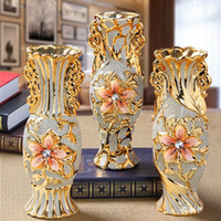 Wholesale frost flowers for sale - Group buy Europe Gold Plated Frost Porcelain Vase Vintage Advanced Ceramic Flower Vase for Room Study Hallway Home Wedding Decoration