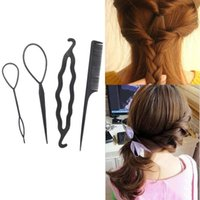 Wholesale bun tool for hair for sale - 4Pc Set Plastic DIY Styling Tools Braiders Hair Twist Styling Clip For Women Lady Girl Hairpins Comb Magic Hair Bun Roller Maker
