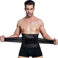 body shaper tummy corset slimmer venda por atacado-Shaper Hot Trainer Cintura Masculina Cincher Espartilho Dos Homens Cinto de Modelagem Corporal Tummy Slimming Strap Aptidão Suor Shapewear