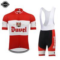 красный белый синий велосипедный трикотаж оптовых-DUVEL beer MEN набор для велоспорта red pro team одежда для велоспорта 9D дышащая гелевая прокладка MTB ROAD MOUNTAIN одежда для гонок
