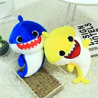Wholesale singing plush online - 32cm Sing Song Light Baby Shark Toys Plush Lovely Animal Child Light Dolls Christmas Party Favor Blue Yellow Red Color zl E1