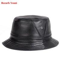 şapka kapağı erkek deri toptan satış-YENİ RY995 Adam Gerçek Deri Gömme Düz Kepçe Şapkalar Erkek Açık Saksı Kısa Brim Siyah / Kahverengi Kalça Pop Gorras Yaşlı Balıkçılık Cap