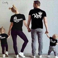 aile kıyafeti gömlek toptan satış-Gömlek Yeni Kral Kraliçe Prens Siyah Prenses Aile Kadın Erkek Boy Kız Giyim Pamuk Aile T Beyaz Tee Kıyafetleri Eşleştirme