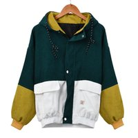 cord-mäntel großhandel-casaco feminino abrigos mujer invierno 2019 Frauen Langarm Cord Patchwork Oversize Jacke Windbreaker Coat Overcoat # 50