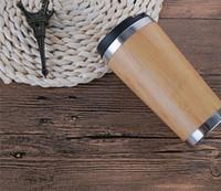 ingrosso tazza di acqua di bambù-Bamboo Vacuum Cup Bamboo Shell 304 In acciaio inox interno Bottiglia d'acqua Office Coffee Cup per tè e caffè