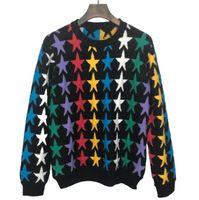 знаменитая дизайнерская одежда оптовых-Дизайнер бренда звезда вышивка свитер пуловер известный перемычка для мужчин женщин верхняя одежда одежда