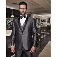 chalecos de boda para hombre negro al por mayor-Shiny Grey Groomsmen Best Man Wedding Dinner Tuxedo 2019 Custom Black Satin Shawl Lapel Men Suit (Chaqueta + Pantalones + Corbata + Chaleco)