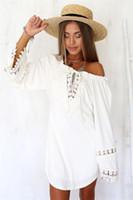 cobertores de biquíni branco venda por atacado-Mulheres Lace Branco Crochet Manga Longa Bikini Cover Up Casual Beach Dress Swimwear 001