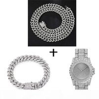 Wholesale rappers chains resale online - Hop Silver Necklace Watch Bracelet Iced Out Paved Rhinestones Miami Curb Cuban Chain Gold CZ Bling Rapper For Men Jewelry
