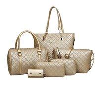 pu deri çanta setleri toptan satış-6 Adet / takım Kadınlar moda Çanta Omuz Çantaları PU Deri Çanta Messenger Çanta Crossbody Çanta Cüzdan Çanta Anahtar Çanta Seti