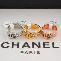 gebrochene ringe großhandel-2019 neue Ankunfts-Großhandelsspitzenqualitätsmarken Brief Fashion Art-Ring Edelstahl Doppel Reihe von gebrochenen Diamanten Ringe für Frauen