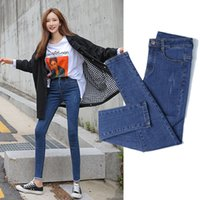sıkı kapri kadınları toptan satış-KADIN Jeans İlkbahar Ve Sonbahar Desen Sıkı Thi ile 2019 Yeni Stil Yüksek belli Dar Kesim Pantolon Capri Zayıflama Siyah Ve Beyaz