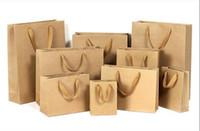 boîte de coeur chinois achat en gros de-Papier cadeau 10 tailles en stock sur mesure en papier cadeau sac boîtes brun sac en papier kraft avec poignées pour les mariages fête alimentaire gros DHL
