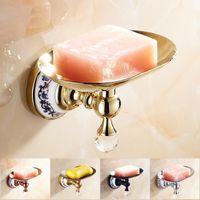 ingrosso piatti antichi di sapone da bagno-Portasapone Portasapone da parete color oro Portasapone in ottone antico per accessori bagno Wc Prodotti da bagno neri 6309 Y19061804
