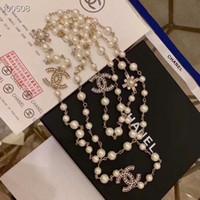 österreichische kristallbroschen großhandel-18K Gold eingelegte natürliche Perlenkette importiert österreichischen Diamant Halskette Mode Pullover lange Halskette Kristall High-End-Brosche