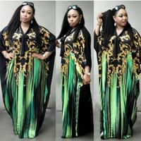 lüks artı boyut maxi elbiseler toptan satış-Moda Artı Boyutu Kadınlar Elbise Afrika Kadınlar Gevşek Maxi Elbiseler Lüks Baskı V Boyun Bayan Elbiseler