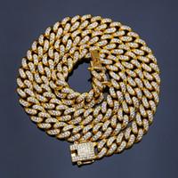 ingrosso collana a catena d'oro per uomini-Catene ghiacciate per uomo con strass e donne Designer Collana d'oro Mens bling hip hop catene gioielli uomo link cubano Acciaio inossidabile