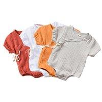 overalls gürtel mädchen großhandel-Säuglings Neugeborenes Baby Mädchen Jungen Strampler Solide Baumwolle Overall Overall Gürtel Kurzarm Sommer Kleidung Baby Kostüme
